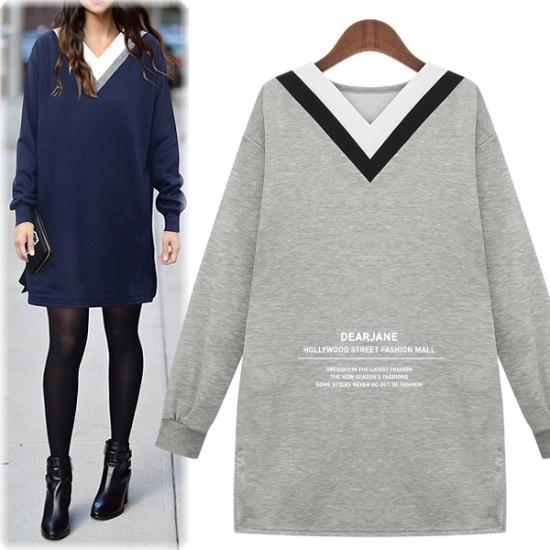 ディアジェーン起毛配色ワンピースM3847 綿ワンピース/ 韓国ファッション