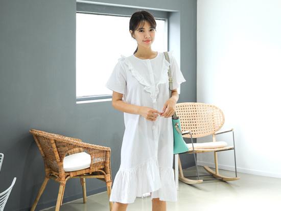 ミさんエラフロムフリルロングワンピース 綿ワンピース/ 韓国ファッション