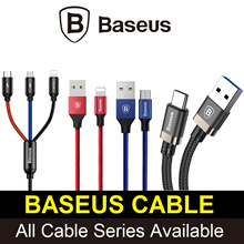 Baseus Micro USB / Apple Lightning / Type-C Fast Charging Cables / 3-in-1 Cables ★ LOWEST PRICE ★