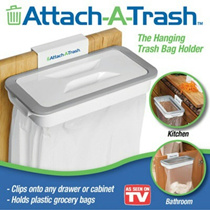Attach-A-Trash: The Hanging Trash Bag Holder/ Mess-Free/ Kitchen/Bathroom/Office