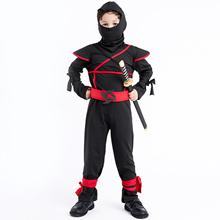 Japanese Kids Ninja Masked Warrior Impersonate Black Ninja Suit Halloween Exotic Costumes 8917HL32