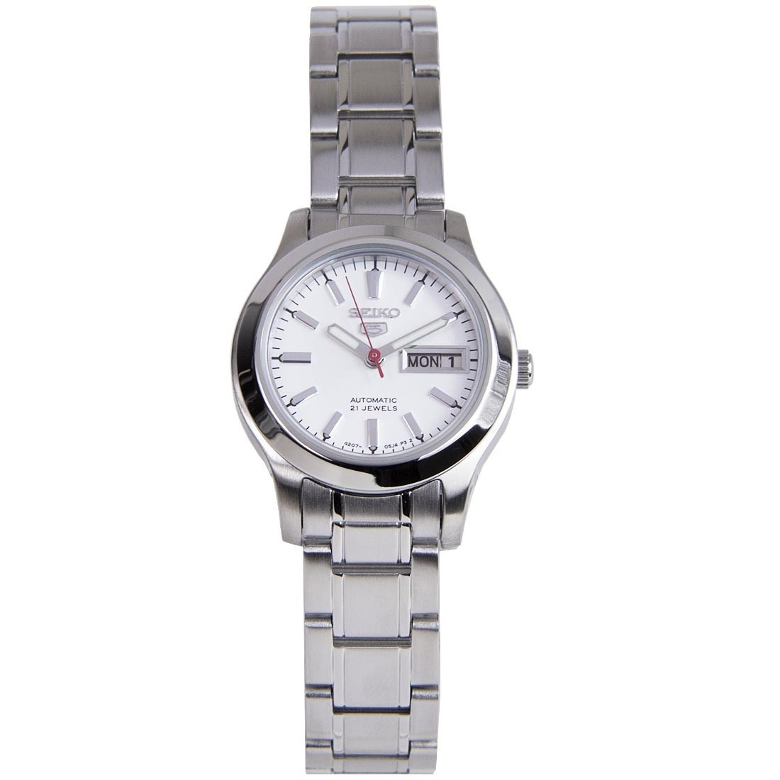 Seikosymd87k1 Symd87k Symd87 Seiko 5 Automatic White Dial Stainless Steel Strap Ladies Dress Watch