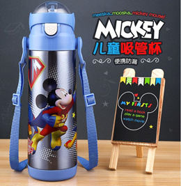 Disney children vacuum cup with straw/304 stainless steel mickey dual purpose kettle