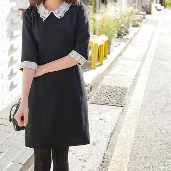 ロロテンガラスレースのワンピース シフォン/レースのワンピース/ 韓国ファッション