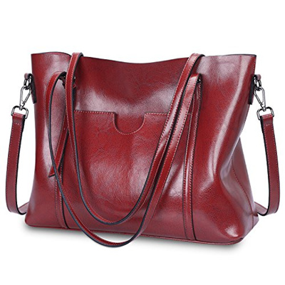 dbc34f711c64 S-ZONE Women Genuine Leather Tote Purse Daily Casual Shoulder Bag Large  Capacity (Wine