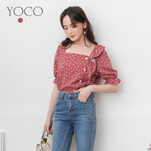 YOCO - Square Collar Pearl Buckle Chiffon Top-190842