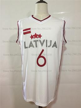 Throwback Basketball Jersey Kristaps Porzingis 6 Latvija White Basketball Jersey  Stitched Retro Shir 343d82862