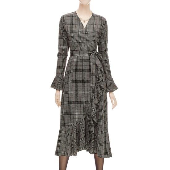 フォーカスラッフル小売チェクレプワンピースSFGW1OP4040 面ワンピース/ 韓国ファッション