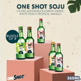 Bundle of 8 - One Shot Soju (Lychee Watermelon Green Grape White Peach Tropical Mango) 360ml