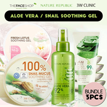 Bundle 3 ★ Aloe Vera / Snail Soothing Gel Nature Republic / 3W Clinic / TheFaceShop / Toko Wajah