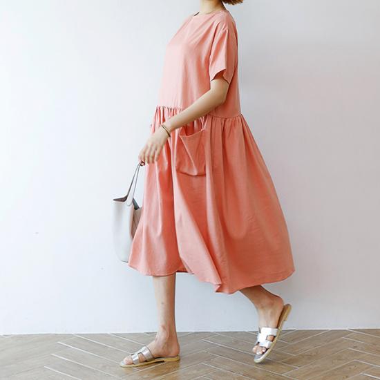 ディエイスルアポケットリンネンワンピース 綿ワンピース/ 韓国ファッション