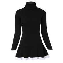 Stylish Turtleneck Long Sleeves Color Splicing Flounce Dress For Women