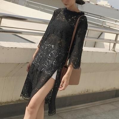 韓国 アンティーク調 個性 裾 スプリット 単一色 レース 中長デザイン 女 夏 七分袖