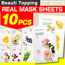 Qoo10 Lowest Price ★10PCS★Nature Republic★1 SET=10 SHEETS★Real Nature Mask[Beuati Topping]