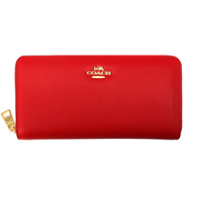 Coach COACH Long Wallet 52372 Red Embossed Textured Leather Accordion Zip Wallet Outlet