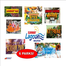 {TRAVELPLUS} SUNWAY LAGOON KUALA LUMPUR MALAYSIA/ FIXED DATE E-TICKET/ADMISSION TO 6 PARKS!