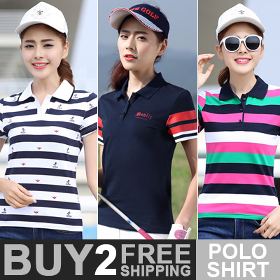 Buy 2 Free Shipping Women POLO Shirts Ladies Fashion T-shirts Girls Sports Top Tee High Quality Deals for only S$39.9 instead of S$0