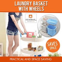 [Free Gift] Laundry Basket With Wheels 2 tier 3 tier/ SKU1491 Kitchen Trolley Rack 2 tier 4 tier
