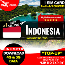 Indonesia sim card (Network by XLcom) 3 - 7 days unlimited data