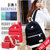 NEW ARRIVAL 3IN1 BACKPACK SET-SLING BAGS AND POUCH! FREE SHIPPING! GRAB 1 TODAY! LIMITED STOCK!