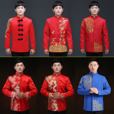 f30e94fc3a68b 2018 CNY GIFTS! Men's tang suit Male show the groom chinese clothing  pratensis style tunic red tang