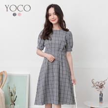 YOCO - Check Puff Sleeves Dress-190847