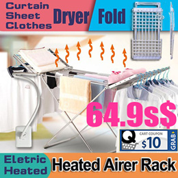 Electric Heated Airer Rack Drying Clothes Curtain Sheet Shoes Dryer Laundry Foldable Washing Hangers