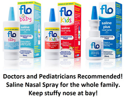 Flo baby/kids/adult saline nasal spray for sinus runny nosenasal congestion and irritated nose
