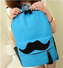 New fashion bag womens middle school students candy color backpack bag BaoChao canvas bag mustache b