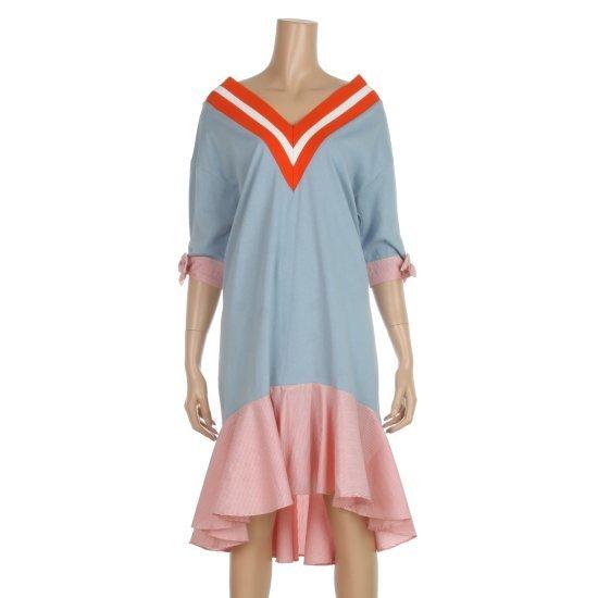 プラストーリープラスチックアイルランド配色シボリ・ストライプワンピースPHEBY351 面ワンピース/ 韓国ファッション
