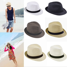 dbf15b7e57e Unisex Couples Lovers Straw Panama Hat Fedora Braid Fedora Trilby Gangster  Cap Summer Beach Sunhat Z