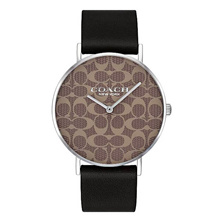 COACH PERRY ANALOG QUARTZ SILVER STAINLESS STEEL 14503123 BLACK LEATHER STRAP WOMEN S WATCH