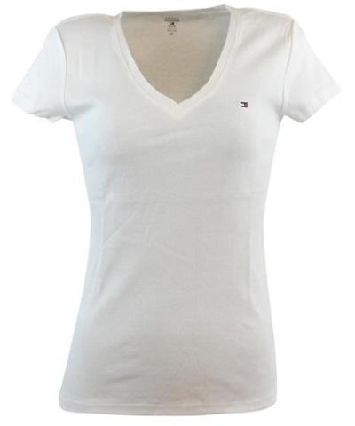 2040a018d (Tommy Hilfiger) Tommy Hilfiger Womens V-Neck Solid Color Logo T-Shirt