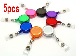 5Pcs Retractable Reel ID Badge Key Card Lanyard Name Tag Holder with Belt Clip