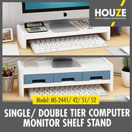 Computer Monitor Shelf Stand / With Drawers/Single and Double Tier/Assorted Colors/ABS Material