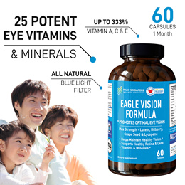 Lutein Eagle Eye Vision - 25 Minerals Food Blends☆ Max Strength Vitamin A C E + Bilberry + Calcium ☆