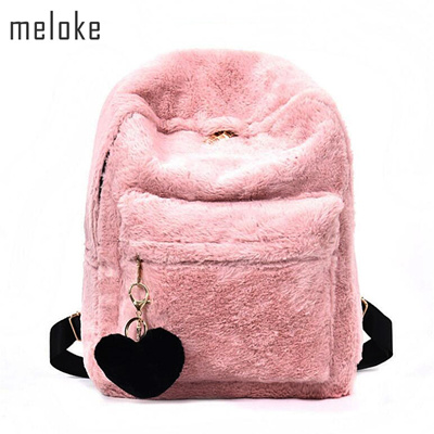 eefb3c77293a Cute Solid Faux Fur Backpack Heart Pendant Winter Soft Women s Big Plush  Backpack Pink Black