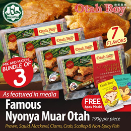 [3 x OTAH + 1 PACK MOCHI ] No.1 Best Seller HALAL Chunky Nyonya Muar Otah / 7 Flavours