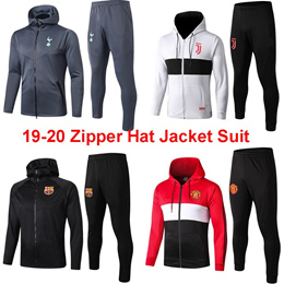 19-20 Zipper Hat Jacket Suit Long Soccer Training Uniform Real Madrid Liverpool Juventus Arsenal 训练服