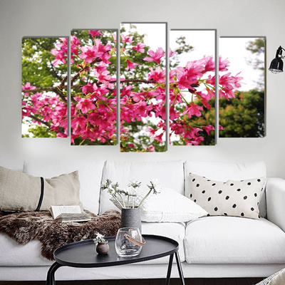 Realistic flower pastoral canvas painting country art prints 5 psc home  deco art wall pictures for l