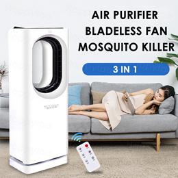 Air Purifier + Bladeless Fan + Mosquito Killer Lamp 3 in 1 Multifunction Purifier Fan Air Circulator