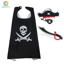 Kids Pirate Costume Accessories Hat Eye Patch Dagger Cloak Masks for Boys Birthday Halloween Party D
