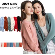 Women Knitted Sweater Cardigan Korean Style V Neck  Long Sleeve Coat Female Cashmere Cardigan