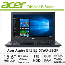 Aspire E15 E5-576G-52GR(BLK) - 8th Generation i5 Processor with Nvidia MX150