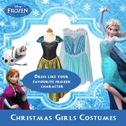 Christmas Girls Costumes - Long Sleeve Queen Elsas Dress