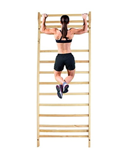 Durable Port Wood Stall Bar - Swedish Ladder with 12 Rods for Physical Therapy, Workout  Training R
