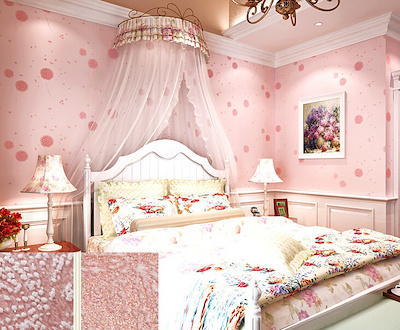 Non Woven Dandelion Wallpaper Pink Childrens Room Girls Warm Pattern Wallpa