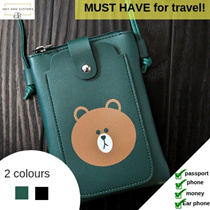 1 DAY CRAZY PRICE🙀 LINE Brown bear sling pouch | 2 colours | Can contain passport and essentials!