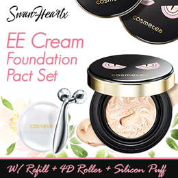 CHEAPEST! Cosmetea EE Cream Foundation Pact FULL SET with 1 Refill + 1 Face Roller + 1 Silicon Puff