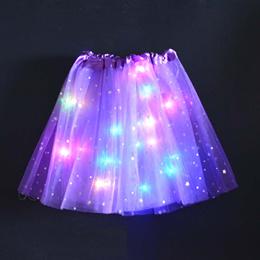 纯色款欧美带灯led发光半身tutu裙网纱裙LED灯蓬蓬裙